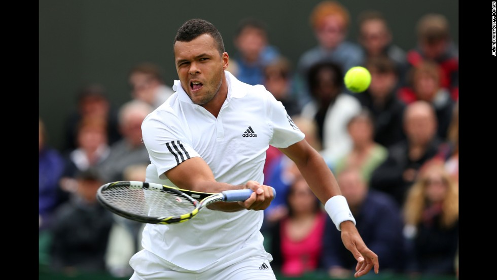 Jo-Wilfried Tsonga of France plays a forehand against David Goffin of Belgium on June 24. Tsonga won 7-6 (7-4), 6-4, 6-3.