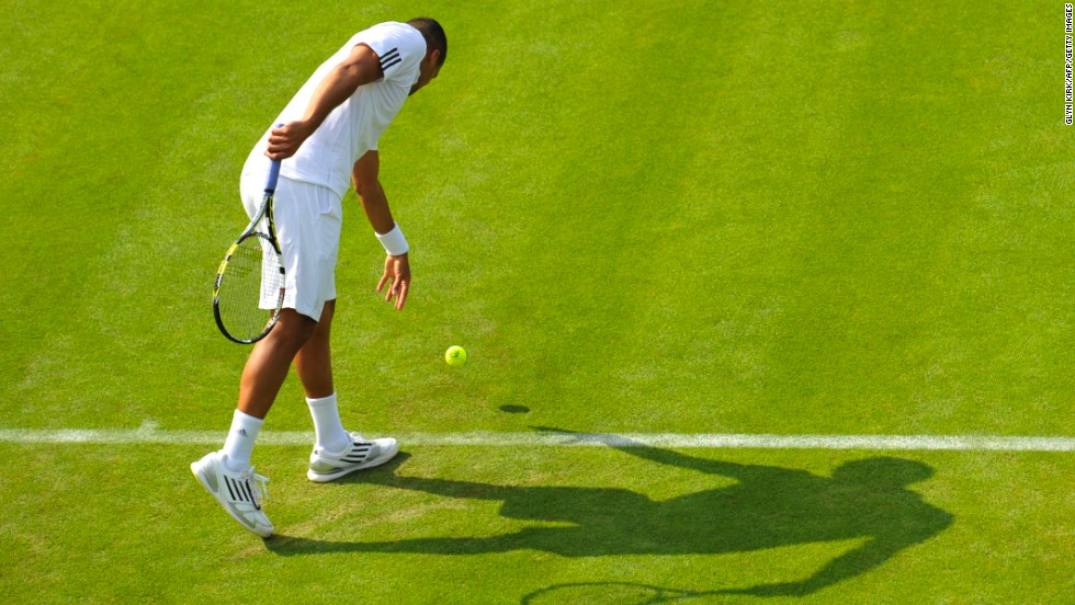 Tsonga serves against Goffin on June 24.