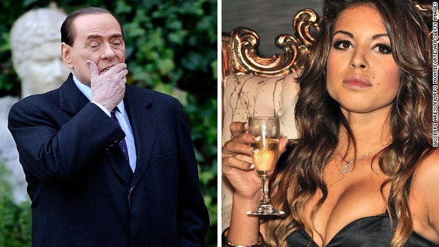 Italian Prime Minister Silvio Berlusconi (L) at Villa Madama in Rome and Moroccan Karima El Mahroug, nicknamed Ruby the Heartstealer, in a nightclub