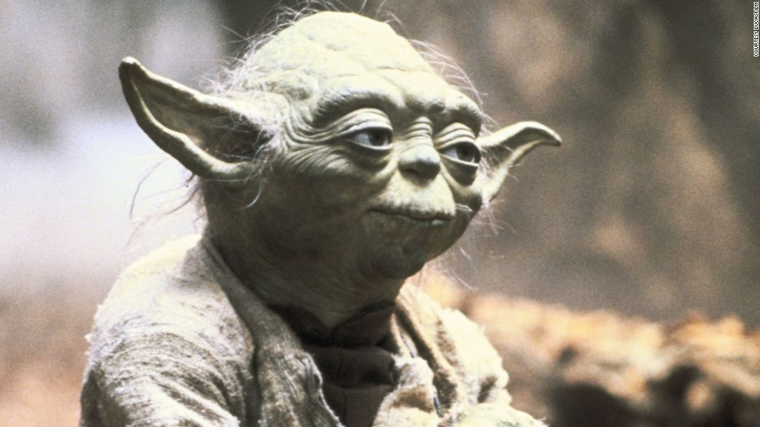 "Yoda, here seen in ""The Empire Strikes Back,"" is a wise and powerful Jedi Master who takes over Luke Skywalker's training. His voice was provided by Muppet great Frank Oz."