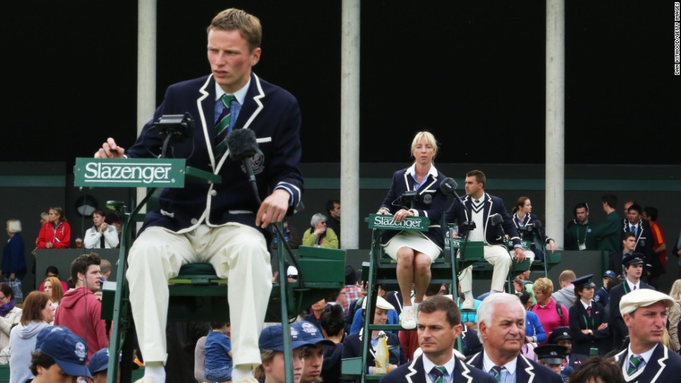Chair umpires work on the outside courts during Wimbledon on June 24.