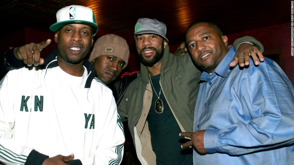 Kweli, here in 2003 with Kanye West, Common and Kevin Liles, then-executive VP of Island Def Jam, said he'd like hip-hop fans to know he has worked with the best. Among the big names on his new album are Busta Rhymes, Nelly, RZA and J. Cole.