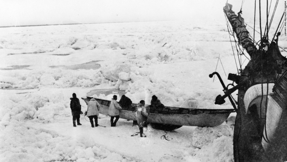While stuck on the ship, the men built sleds and boats like this Eskimo-style umiak, to use in case they lost their ship and then had to cross the ice or water. Stefansson took some of the expedition's best dogs and five men, including McConnell, and set out for shore to hunt for meat. The ship soon drifted away, cutting off Stefansson and McConnell's group from the Karluk.