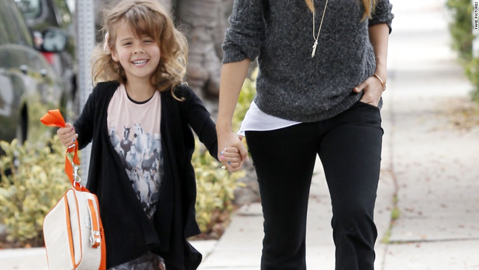 Jessica Alba takes a stroll in Los Angeles with her daughter on June 24.