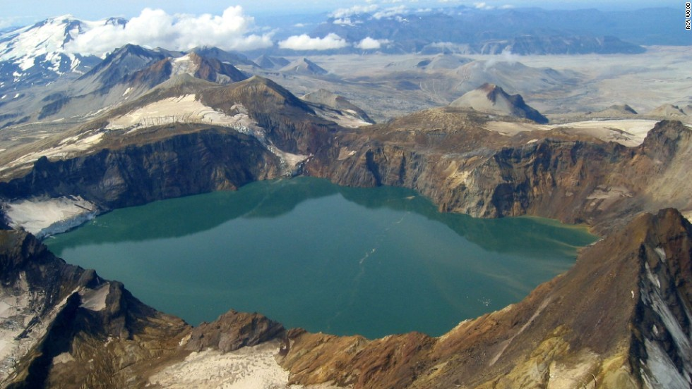 The crater lake in the collapsed summit of Mount Katmai was formed by the Novarupta volcano's 1912 eruption.