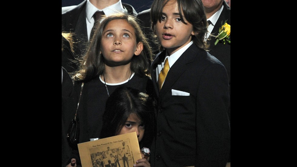 "Paris, Prince and Blanket attend the memorial service for Michael Jackson at the Staples Center in Los Angeles on July 7, 2009. Paris paid tribute to her father by saying, ""Ever since I was born, daddy has been the best father you could ever imagine ... I just want to say I love him so much."""