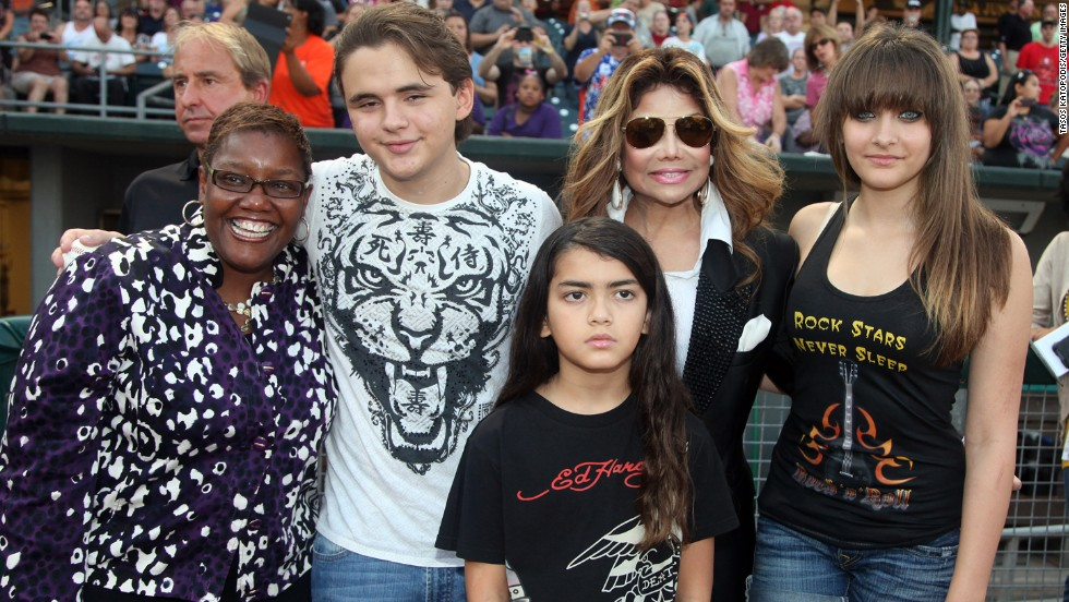 LaToya Jackson and Michael's kids pose with the mayor of Gary, Indiana, Karen Freeman-Wilson, in 2012.
