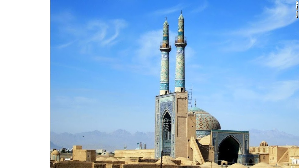 Jame Mosque in Yazd has the highest portal and minarets in Iran. The twin minarets are a hallmark of the Shia faction of Islam (Sunni mosques have only one minaret).