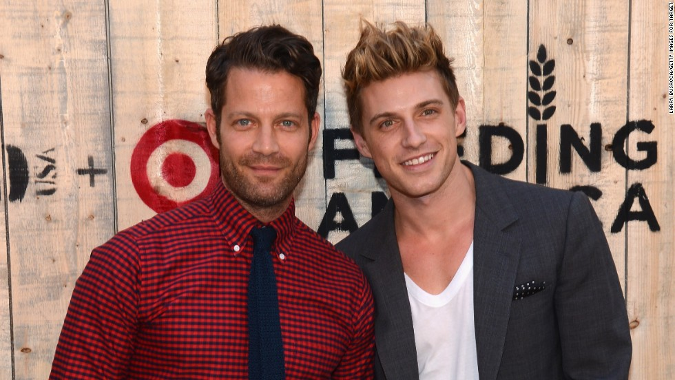 "Interior design guru Nate Berkus, left, and Jeremiah Brent tied the knot in New York in May 2014. <a href=""http://www.people.com/article/nate-berkus-marries-jeremiah-brent"" target=""_blank"">According to People magazine</a>, they held the ceremony at the New York Public Library and are the first same-sex couple to host a wedding at the historic landmark. The pair announced their engagement in April 2013."