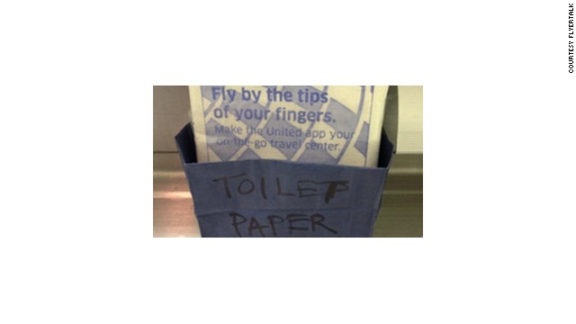 This picture of United Airlines substitute toilet paper made it to FlyerTalk.