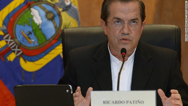 Ecuador's Foreign Minister Ricardo Patino addresses a press conference in Hanoi on June 24, 2013.