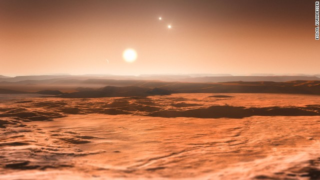 This artist's impression shows the view from the exoplanet Gliese 667Cd looking towards the planet's parent star (Gliese 667C).
