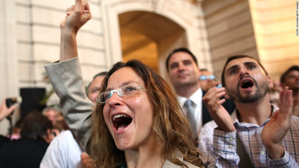 Supporters of same-sex marriage cheer at City Hall in San Francisco.