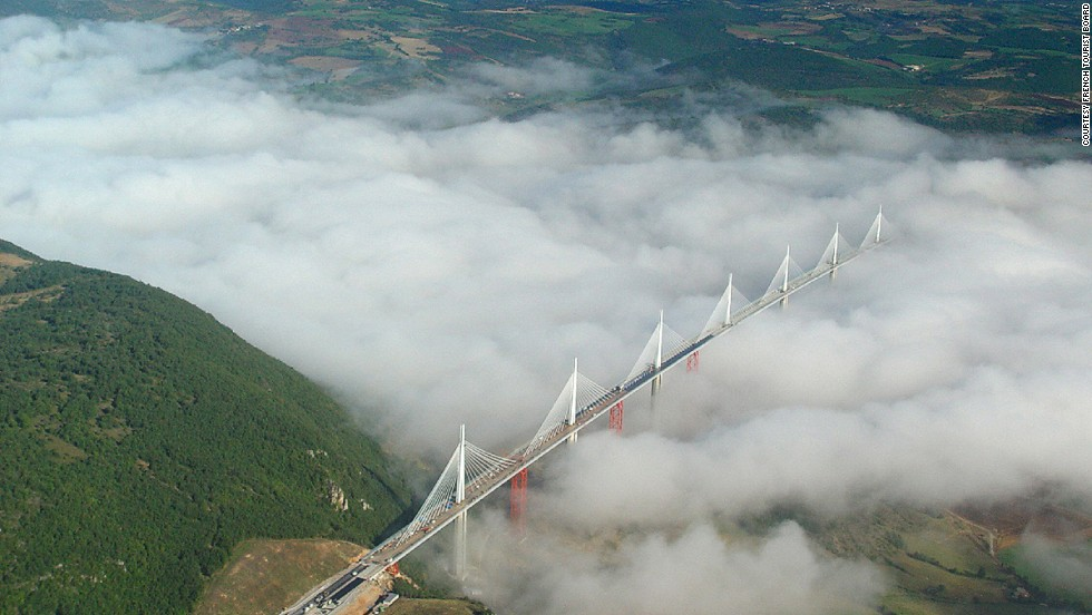 The Millau Viaduct has the highest road bridge deck in Europe -- it sits 270 meters (890 feet) above the Tarn river at its highest point.<br />The Millau Viaduct is the world's tallest bridge, with a total height of 343 meters (886 ft), making it taller than the Eiffel Tower. The viaduct, which crosses the valley of the river Tarn, was created to ease traffic on the route between Paris and Spain. It cost €320 million ($412 million dollars) but offers good value for money, with a lifespan of 120 years. <strong>Completion date:</strong> December 16, 2004.