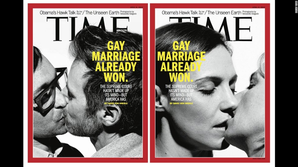 Time magazine's April 8, 2013, double cover drew controversy as the U.S. Supreme Court took up two cases centered on same-sex marriage laws.