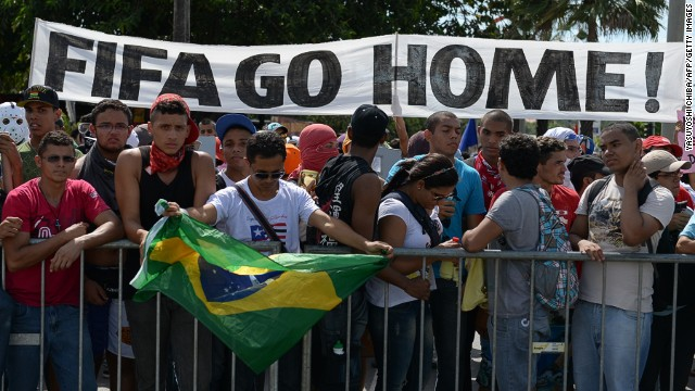 Football continues as Brazilians protest