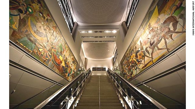 "Originally installed in JFK Airport in 1960, the famed Carybe murals (""Gateway of the Americas"" by Brazilian artist Carybe) are now on display in MIA."