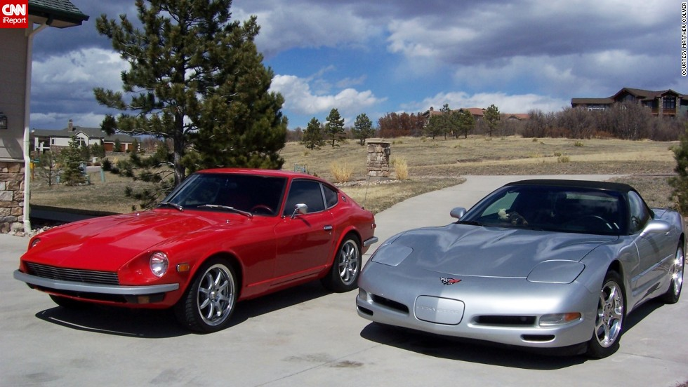 "<a href=""http://ireport.cnn.com/docs/DOC-995259"">Matthew Colver</a> and his wife purchased a 2002 Corvette Convertible after their kids moved out of the house. It's shown here sitting next to Colver's 1973 Datsun 240Z. If he could say anything to his Corvette for its 60th anniversary it would be, ""Thanks for the joy you've given us."""