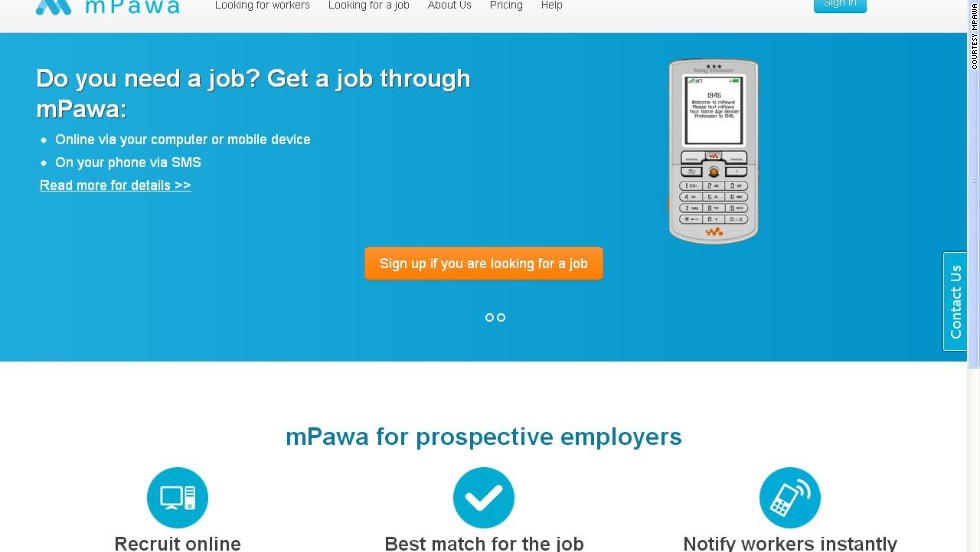 """<a href=""http://mpawa.com/"" target=""_blank"">mPawa</a> matches employers with potential employees via skills and experience. It's also SMS-based, which is ideal given that much of Africa is mobile-only."""