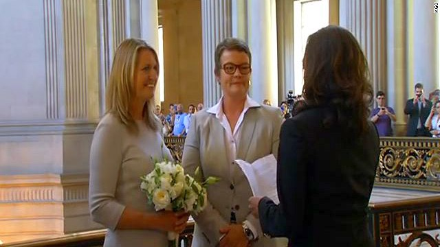 Sandra Stier, left, and Kris perry are wed by Kamala Harris, California District Attorney on Friday, June 28 in San Francisco.