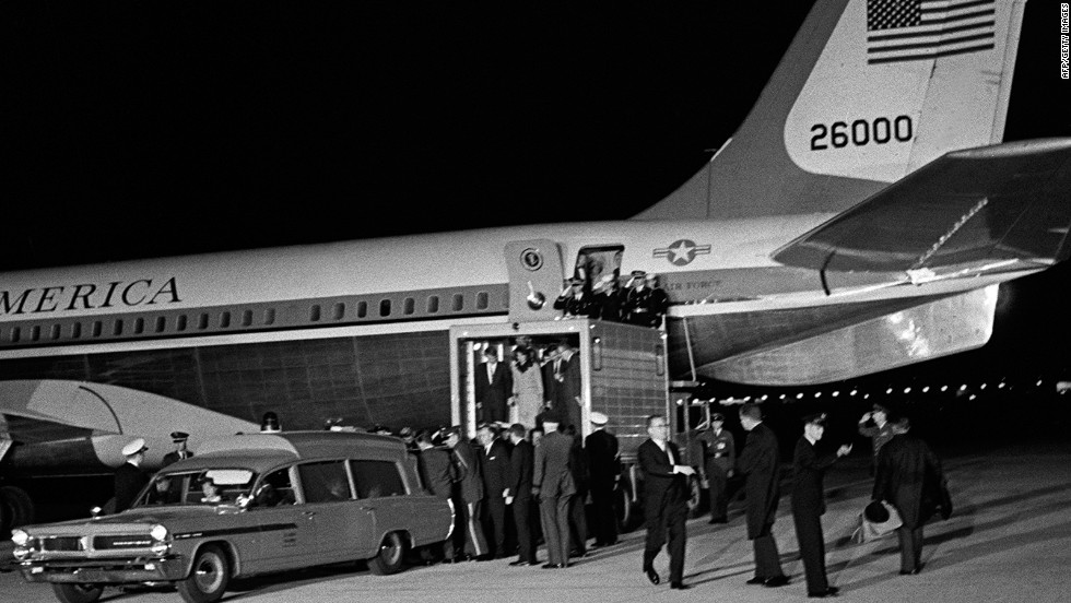 "At Andrews Air Force Base outside Washington, the president's casket was offloaded onto an ambulance from SAM 26000, where it had been placed in the rear of the cabin. ""The crew didn't want President Kennedy's casket to travel in the cargo hold,"" said then-flight engineer Joe Chappell on <a href=""http://www.c-spanvideo.org/program/102647-1http://www.youtube.com/watch?v=_ZtWB-4s-R4"" target=""_blank"">C-SPAN in 1998</a>. ""So they made room for it in the passenger compartment."" To create the extra space, Chappell said he helped remove two rows of seats and a separating wall."