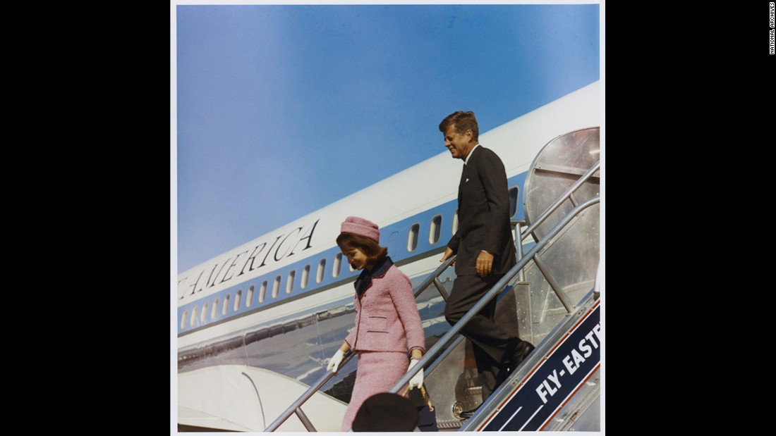 "First lady Jacqueline Kennedy and the president exit SAM 26000 in Texas in November 1963, just hours before the president would be assassinated. Five months earlier, the plane had flown Kennedy to Berlin, where he delivered his historic ""I am a Berliner"" address."