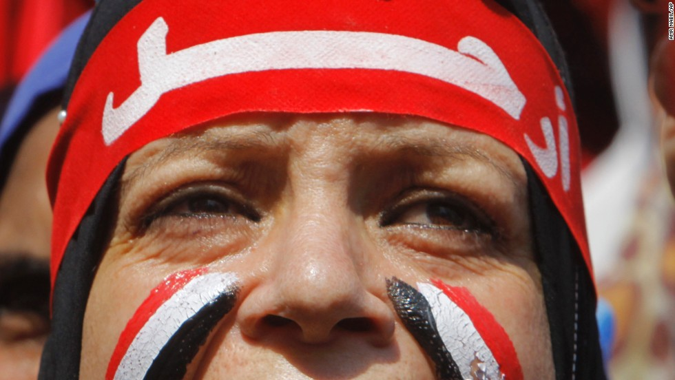 An Egyptian protester chants slogans during the June 30 rally.