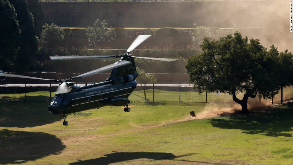 Marine One takes off as the Obamas leave the Union Buildings on June 29 in Pretoria.