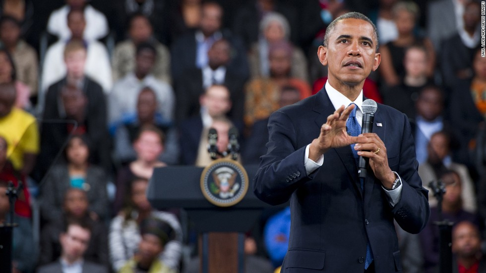 Obama answers a question during a town hall meeting at the University of Johannesburg Soweto in Johannesburg, South Africa, on June 29.