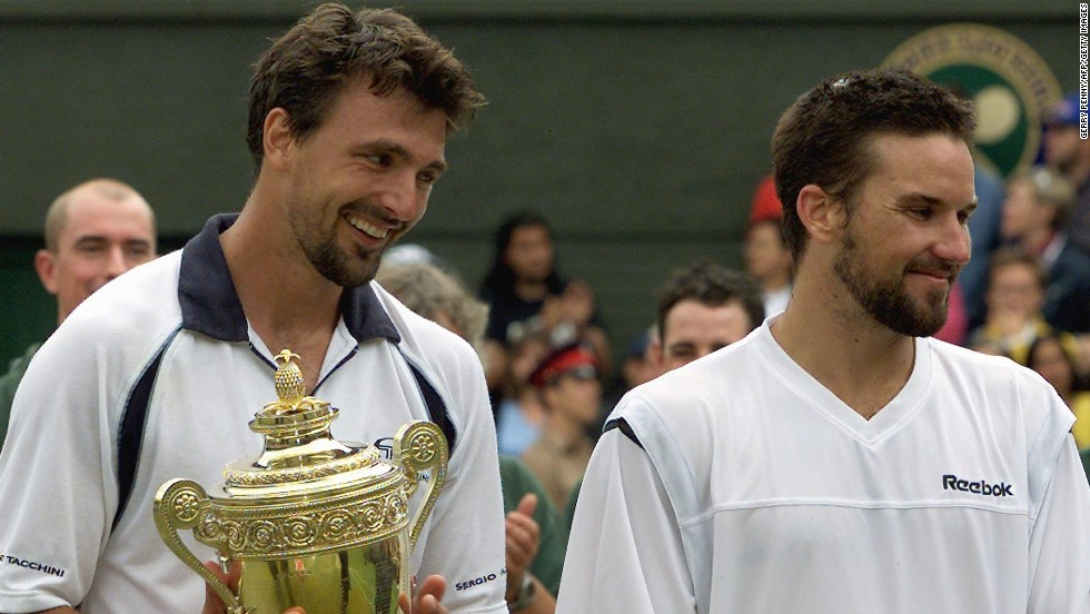 Goran Ivanisevic was all smiles after beating Patrick Rafter to claim a first Wimbledon title. The Croat had been a loser in three previous Wimbledon finals and thought he'd never end the skid.
