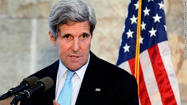 U.S. Secretary of State John Kerry speaks during a press conference at Ben Gurion International Airport on June 30 in Tel Aviv, Israel.