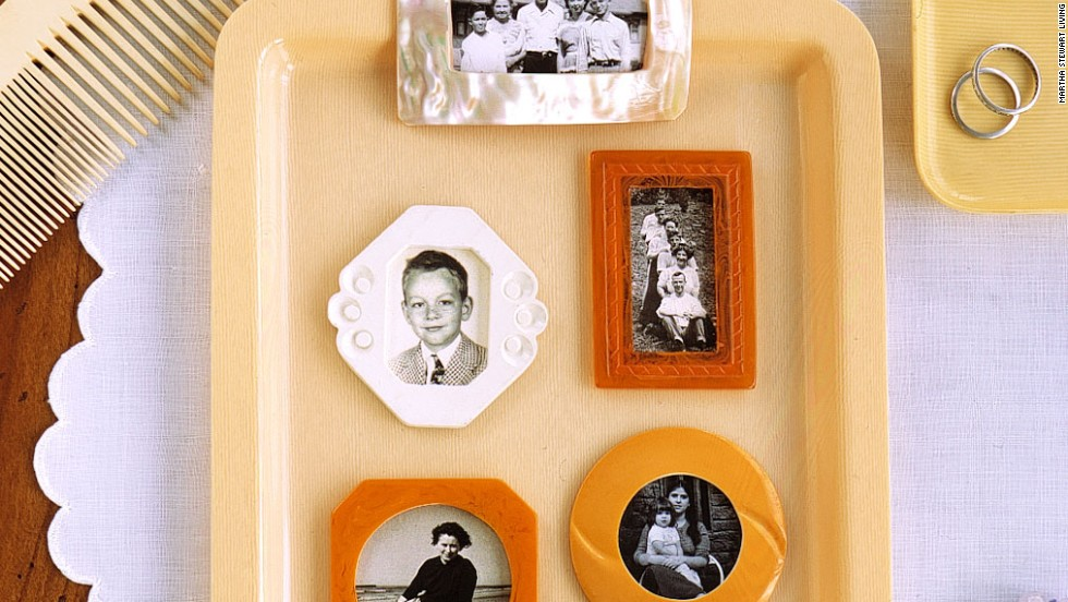 Old belt buckles can take on a new role as miniature picture frames. Gather these curios on a bureau, or display them as refrigerator magnets.