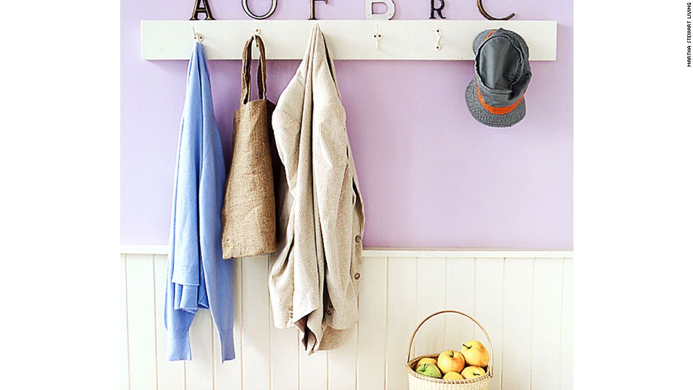 Vintage letters are a clever way to designate hooks on a coat rack. Try to match the style of the letter to the personality of the owner. These flea-market finds are easy to install -- secure an initial above each hook with adhesive mounting squares, which can hold up to two pounds, or use a heavy-duty two-part epoxy intended for most surfaces.
