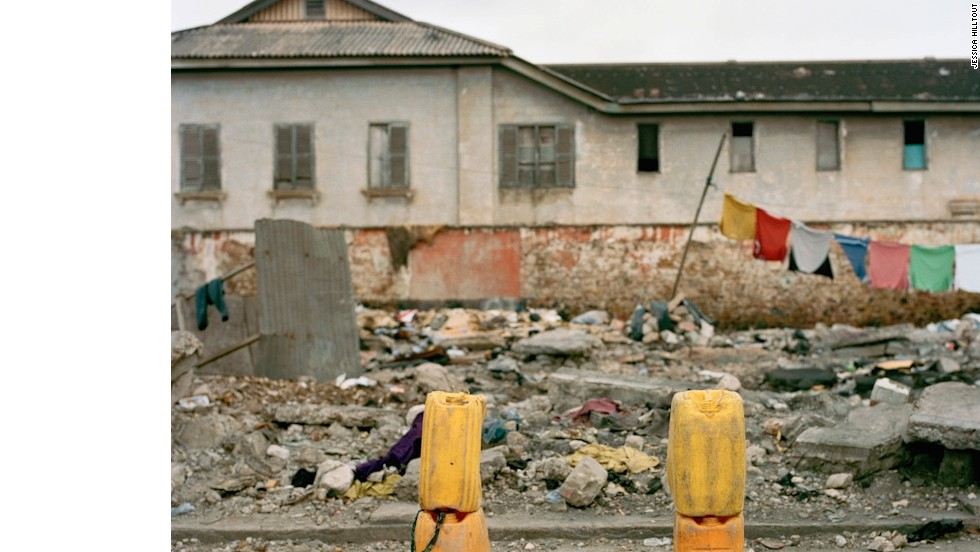 A makeshift goal is set up in Jamestown, Accra, Ghana. Photographer Jessica Hilltout captured several such scenes during her trip around Africa.