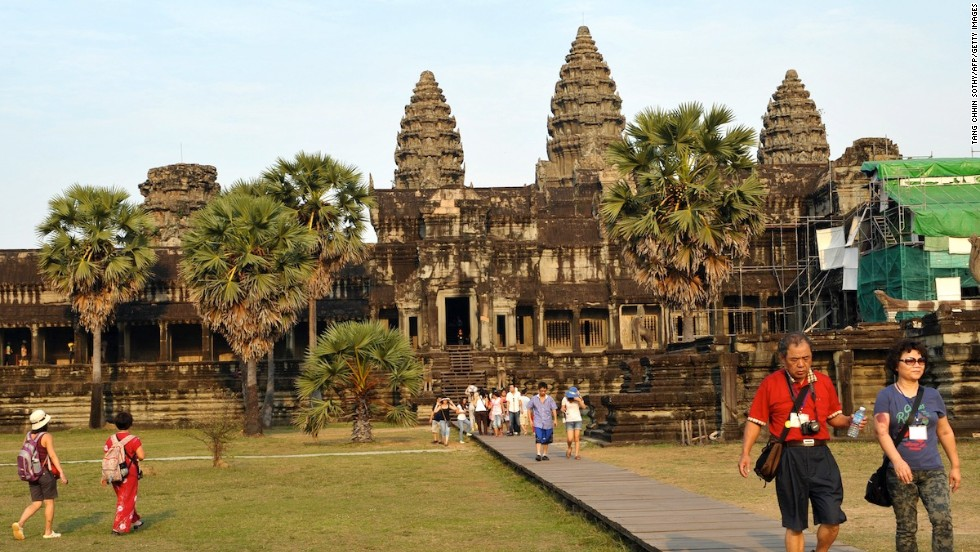 The ancient temples of Angkor Wat, also in Siem Reap, Cambodia, are the country's top tourist attraction. The complex was built in the first half of the 12th century.
