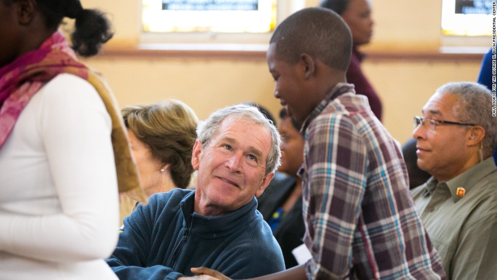 Bush visits the Cathedral of St. Theresa Catholic Church in Livingstone.