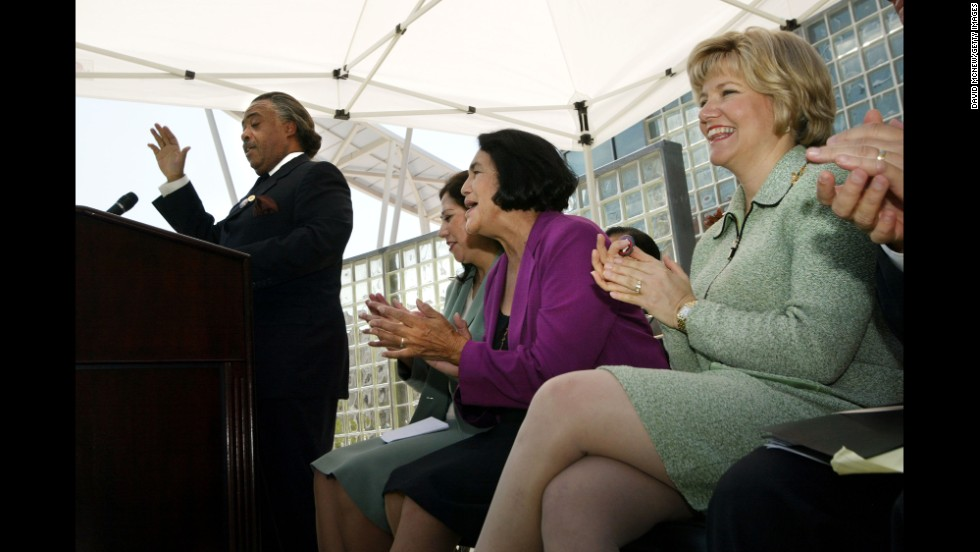 Huerta sits in 2003 with California first lady Sharon Davis, right, and Rep. Hilda L. Solis as democratic presidential hopeful the Rev. Al Sharpton speaks at a media conference at California State University in Los Angeles.