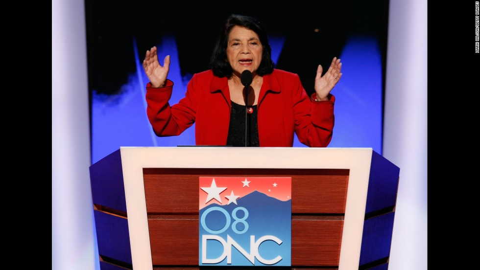 Huerta nominates Sen. Hillary Clinton for U.S. president during day three of the Democratic National Convention in 2008 in Denver. Barack Obama was officially nominated as the Democratic candidate on the last day of the four-day convention.