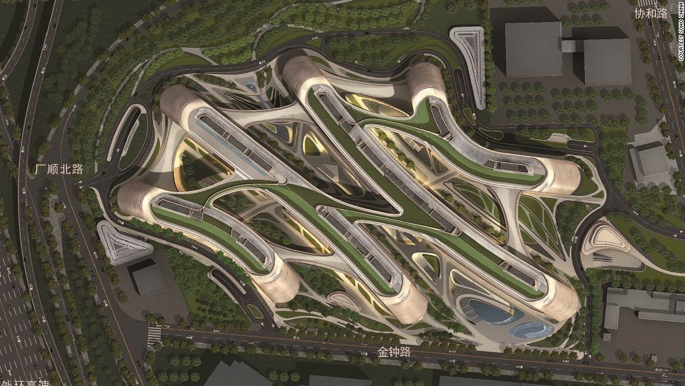 Sky SOHO, due for completion this year, is a third development designed by architect Zaha Hadid, this time in Shanghai. The design is based on calligraphy.