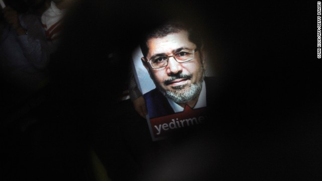 A poster of Egypt's President Mohammed Morsy is seen during a pro-Morsy demonstration on July 1, 2013 in Istanbul.