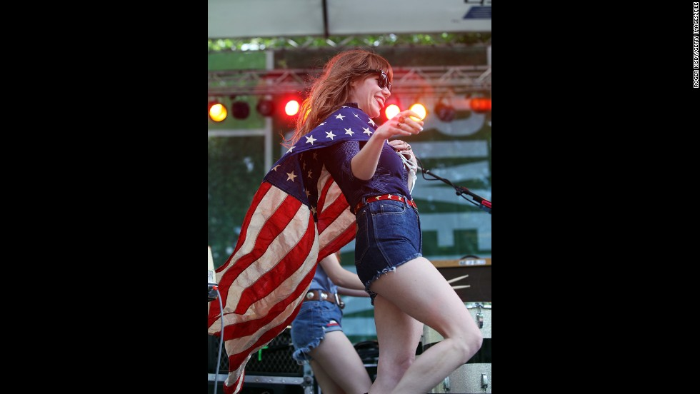 Singer-songwriter Jenny Lewis looks like she feeling patriotic and<em> </em>heroic on July Fourth 2009 at the River to River Festival in New York.