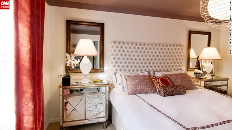 """<a href=""""http://ireport.cnn.com/docs/DOC-996361"""">Bethany Brower,</a> an interior decorator and blogger for <a href=""""http://powellbrower.com/2012/08/one-room-challenge-reveal.html"""" target=""""_blank"""">Powell Brower</a> from Northern Virginia likes to sleep. But her husband likes to wake up. The perfect compromise? Airy curtains and a cozy, dark ceiling."""