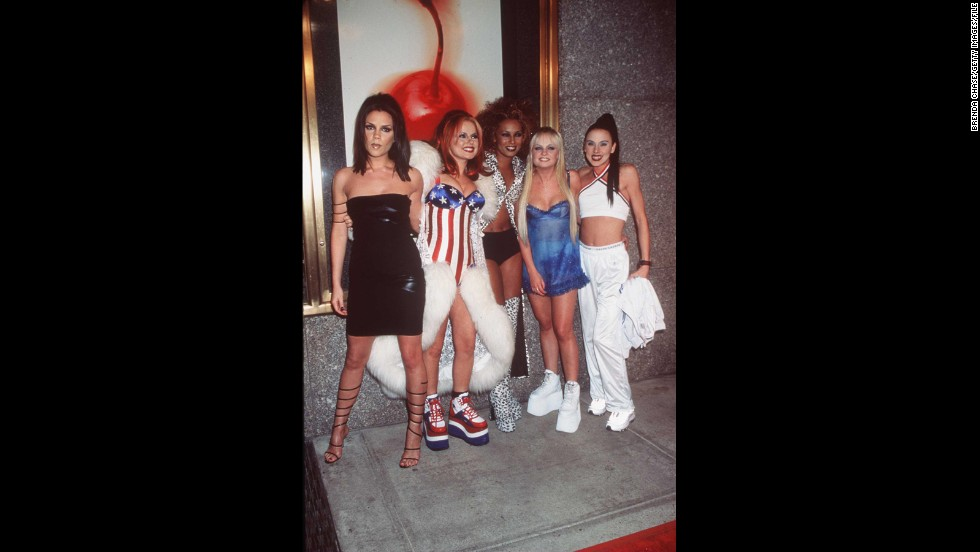 "Though hailing from the UK, Geri ""Ginger Spice"" Halliwell, second from left, wears the stars and stripes when she and the rest of the Spice Girls attend the 1997 MTV Video Music Awards in New York."