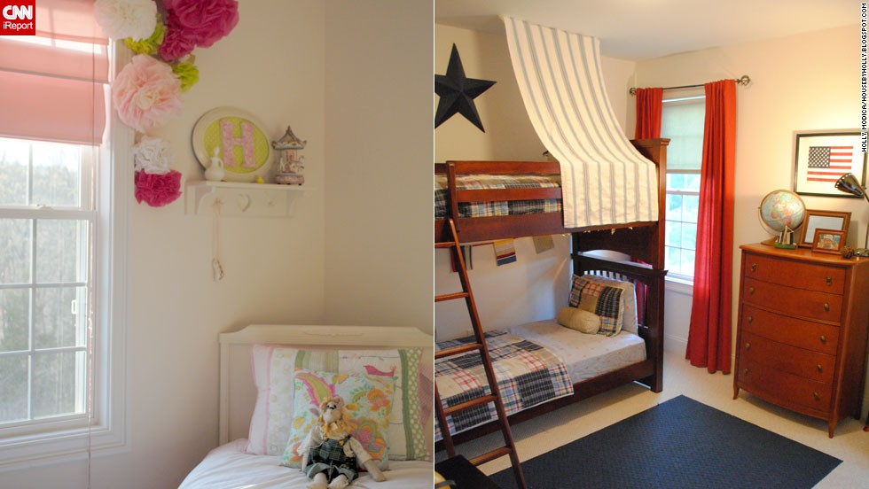 "<a href=""http://ireport.cnn.com/docs/DOC-996768"">Holly Modica</a> from Connecticut decorated her <a href=""http://ireport.cnn.com/docs/DOC-996766"">children's bedrooms</a> on a budget, using decorative items from around the house as well as <a href=""http://housebyholly.blogspot.com/2012/04/how-to-embelish-little-girls-room-for.html"" target=""_blank"">tissue paper, coffee filters, popsicle sticks and tree branches. </a>"