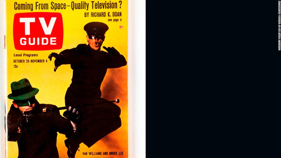 "A 1966 TV Guide was Lee's first cover appearance on an American magazine. Here he represents Kato in U.S. TV series ""The Green Hornet."""