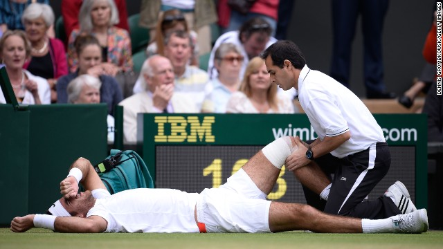 Juan Martin Del Potro's bid to reach the semifinal began in the worst possible fashion as he slipped on the Wimbledon surface early on during his last eight clash with David Ferrer. The Argentine required treatment to his left knee but soon bounced back by breaking his opponent.