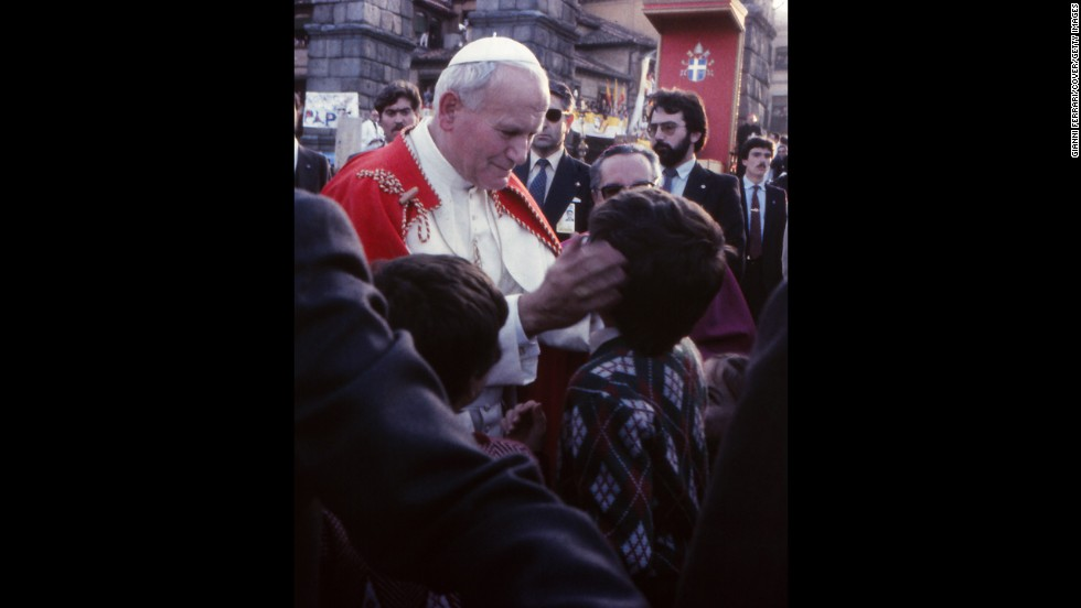 Pope John Paul II in Segovia, Spain, in November 1982.