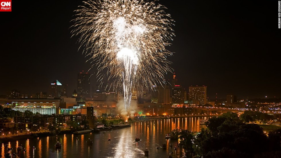 "Anderson also took this photo of the St. Paul, Minnesota,  2011 Fourth of July show. Location is important when shooting fireworks: ""One of the best places to watch Fourth of July fireworks in Minnesota is from the Smith Avenue High Bridge that... has a beautiful view of downtown St. Paul's fireworks show,"" he said."