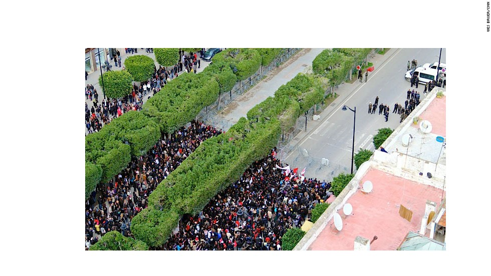 The opposition immediately took to the streets following Belaid's death. Here, supporters gather on Habib Bourguiba Avenue, the main thoroughfare in Tunis, in March.