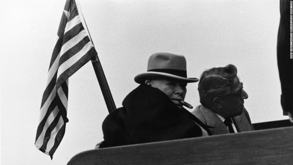 It wasn't just screen sirens schmoozing on board. British Prime Minister Winston Churchill (pictured) also met U.S. President John F Kennedy for the first time on the yacht.